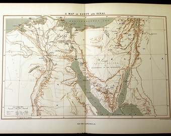 Picturesque Palestine A Map Of Egypt And Sinai Original Vintage 1883 Lithographed Print Middle East, Holy Land