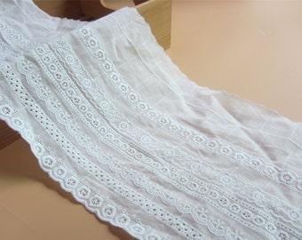 16cm White Lace Trim, Antique Lace Trim for  DIY wedding ,Off White Bridal Lace, Embroidered Lace Trim, Double Daisy Side Lace