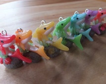 Made to Order Shark on a Rock Charm - polymer clay - keyring - cell mobile - sculpture  - rainbow colours - coral - starfish.
