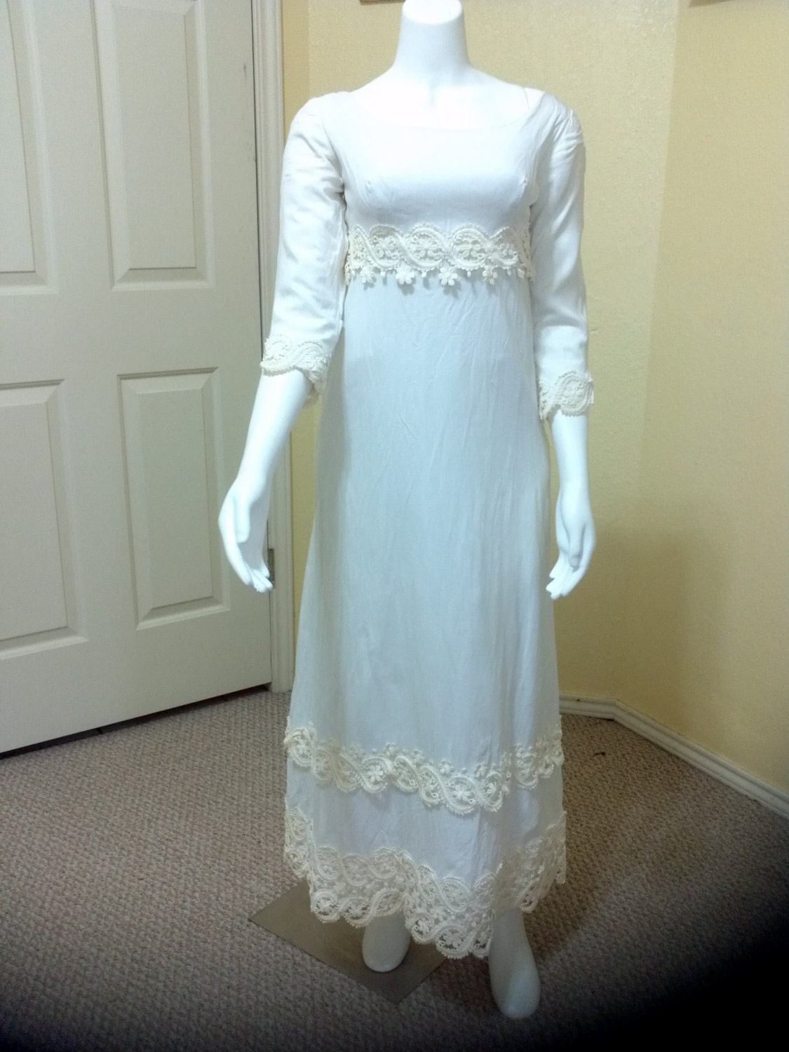 60s wedding dress simple elegance ivory cotton linen long for Simple cotton wedding dress