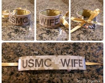U.S. Marine Wife Name Tape Bracelet