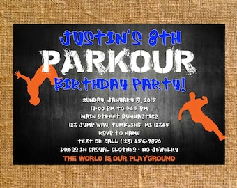 Customized Parkour Birthday Party Invite - Digital File