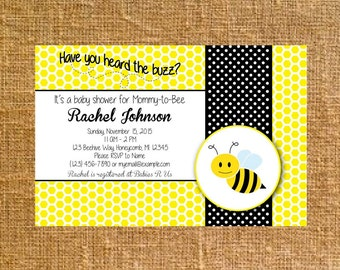 Customized Little Buzzing Bee Baby Shower Invite - Digital File
