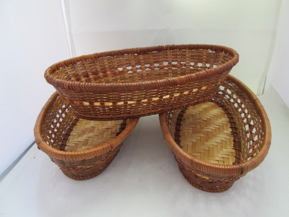 Handmade Small Baskets : Handsome hand woven reed baskets small bread set of