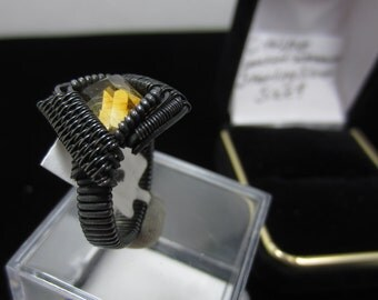 Size 9 Ring, Citrine, Oxidized Silver.