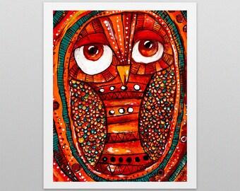 Brown-eyed Owl - Printed Illustration