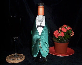 Wine Bottle Cover Novelty Miniature Satin Waistcoat, Dark Green Detachable Chain