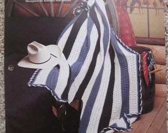 """Crochet Leaflet - Denim and Stars - Measures 56"""" x 70"""" - Vintage 1994"""