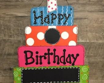 Custom Personalized Happy Birthday Cake Blank Chalkboard Polka Dot Decoration Door Hanger - Hand Painted Wood multicolor