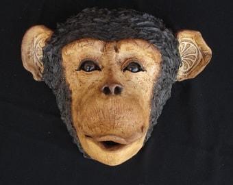Wall Chimp, ceramic monkey head, chimp sculpture for home decor, or garden & lawn sculpture