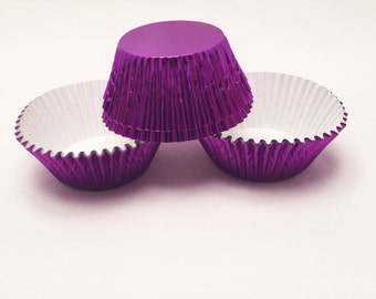 48 Purple Foil Standard Size Cupcake Liners Baking Cups