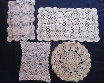Lot of four vintage lace doilies