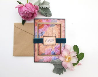 Rustic Bouquet Wedding Invitation Suite