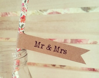 16 Paper Straws with Kraft 'Mr & Mrs' Flags - Wedding, Engagement, Party