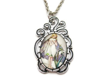 Fairy Necklace Snowdrop Flower Fairy Necklace Fairy Jewelry Gifts Under 20 Snowdrop Necklace Flower Faeries Jewelry Fairy Gift