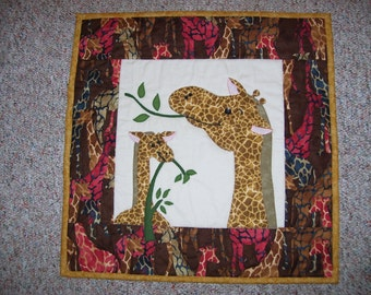 Quilt for a child's room-wall quilt-giraffe quilt-mother and child quilt for wall decoration