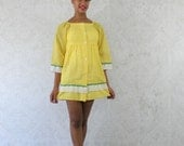 35% Off Moving Sale Vintage 1960s Dress, Yellow Mini Dress, Mod Babydoll Dress, Vintage 60s Dress,  Size Small