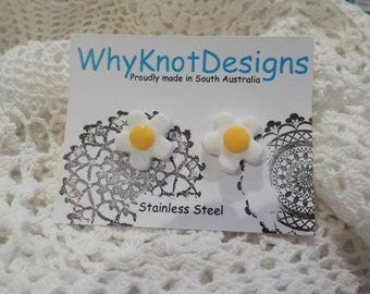 Daisy Clay Earrings (Medium) with Stainless Steel Posts