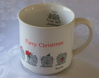 Sandra Boynton Kitties Furry Christmas Holiday Mug VGC
