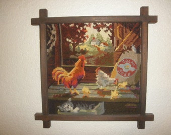 Needlepoint Rooster and Chicken with Chicks and a Curious Cat Handmade
