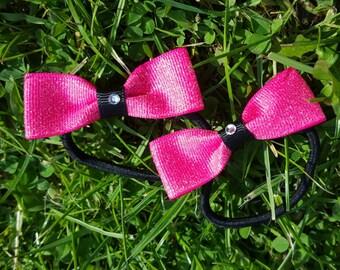 Pink Hair bobbles, Pink glittery hair bow, girls hair bobbles, Toddlers hair bobbles, Girls Hair Bow, Ribbon bows.
