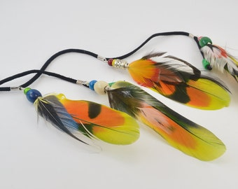 Parrot feather hair extension, colorful feathers, real feather hair clip