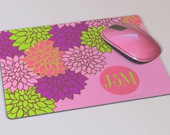 Fabric Mousepad, Mousemat, 5mm Black Rubber Base, 19 x 23 cm - Dahlia Floral Pattern Monogrammed Mousepad Mousemat