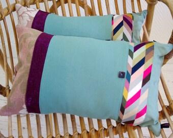 Bohemian style green and purple cushion