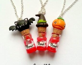 Halloween necklace scary blood mini glass bottles bat pumpkin witch hat - mini bottiglie vetro di sangue scherzetto trick or treat handmade