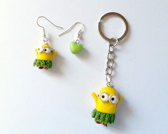 Minions FAN ART - Despicable Me Cattivissimo Me - Kevin Stuart Bob Banana Necklace earrings or Keychain