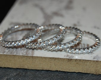 Four Classic Round Eternity Rings 925 Sterling Clear CZ Anniversary Stacking Wedding Bands Guard Rings #BKC-RNG176SET