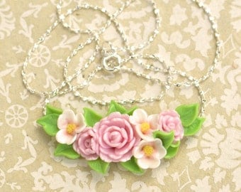 Hand Sculpted Peony Flower Garland Necklace