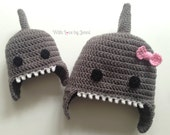 Custom Crochet Shark Hat with or without a bow, Baby, toddler, child, teen, womens, mens sizes *MADE TO ORDER*