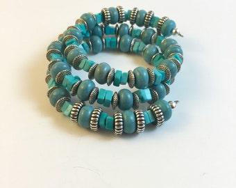 Turquoise Memory Wire Bracelet, Memory Wire Bracelet