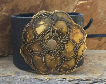 Custom Leather Cuff Bracelet with Brass Etched Flower.
