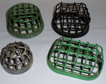 Antique Lot of 4 Dazey Metal Cage Flower Frogs Holders Collection c. 1916