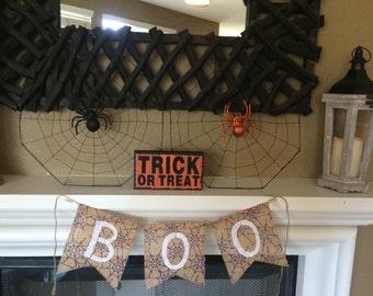 Boo Burlap Banner, Boo Banner, Boo Sign, Halloween Burlap Banner, Halloween Banner
