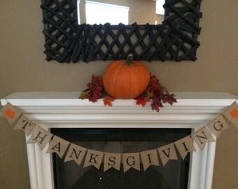 Thanksgiving Burlap Banner, Thanksgiving Banner, Thanksgiving Sign,