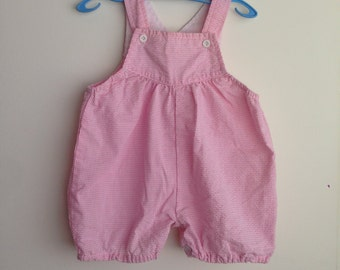Pink gingham vintage baby overalls/dungarees size 00 or 3-6 months