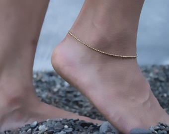 Simple  Anklet, Brass anklet,seed beads, gypsy anklet, fusion,