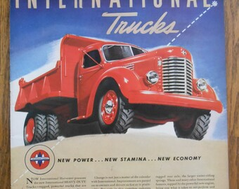 A35 Vintage 1941 International Truck red dump truck Retro 1940s advertising Life magazine ad mechanic gift gas station decor trucker gift