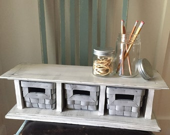 Shabby Chic Shelf with Baskets, Free Standing Shelf, Wall Shelf with Cubbies, Storage Shelf with Baskets, Desk Shelf with Baskets,