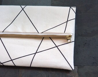 beige black geometric lines screen print clutch, fold over, foldover, black, canvas, beige, de almeida designs