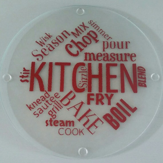 Round Glass Cutting Board Trivet Kitchen Sayings Cutting