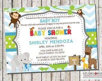 Baby Shower Invitation, Jungle/Safari Theme, Baby Boy