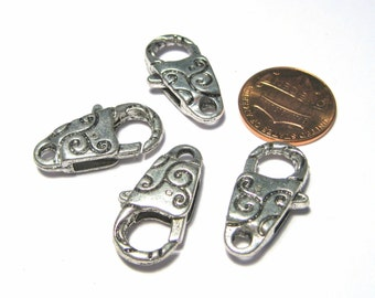 5pcs Large Antique Silver Lobster Claw Clasps
