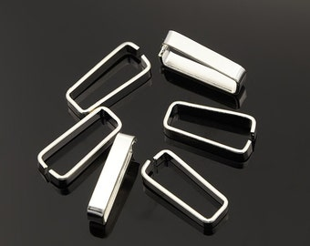 Bright Silver Pinch Snap on Pendants Charms Bails 20x8mm Rectangle Snap on Bail (No.872)