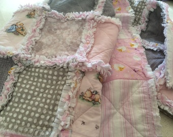 Soft Pink and Pretty rag quilt or blanket