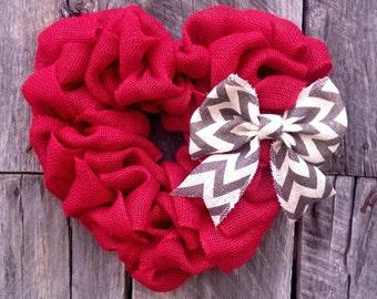 Heart Wreath, Red Burlap Heart, Valentine's Day Decor, Valentine's Day Wreath