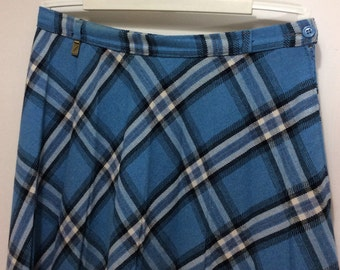 vintage plaid skirt blue pleated and plaid 1970s skirt made in DENMARK